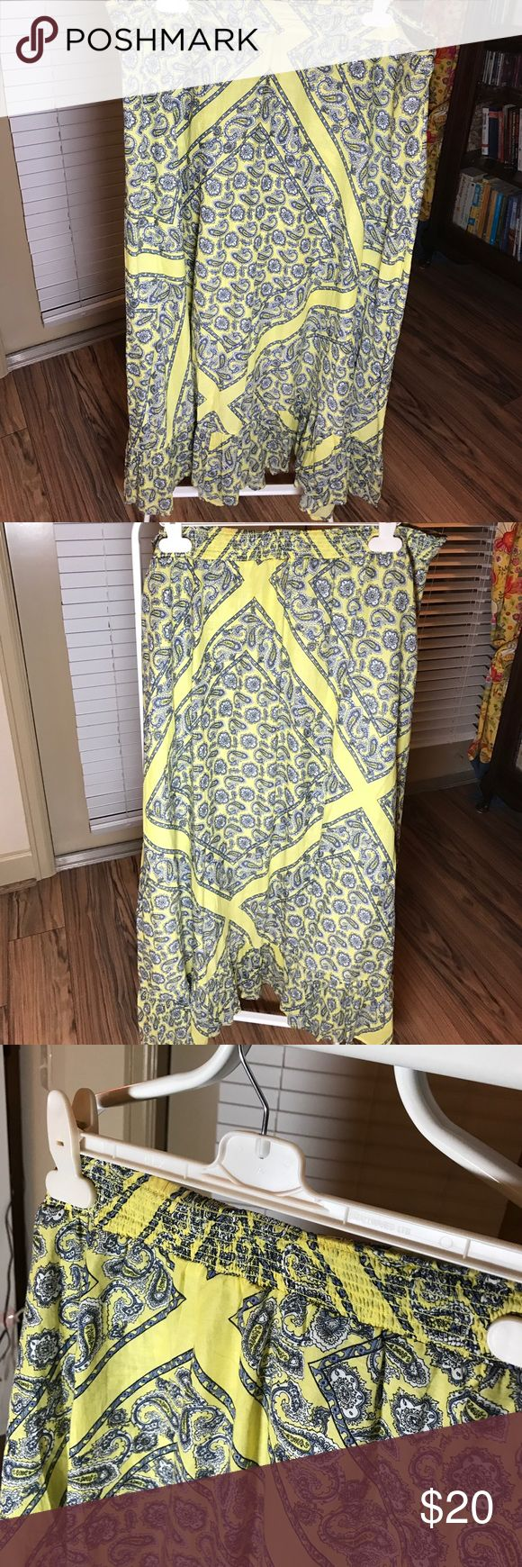 """Long flowing yellow cowgirl/gypsy summer skirt Great with cowboy boots or sandals. Elasticated to back of waist. Bought in UK Monsoon, size XL which will fit a US 18-22.  Length is approx 39"""". Paisley pattern in black and grey. Monsoon Skirts Maxi"""