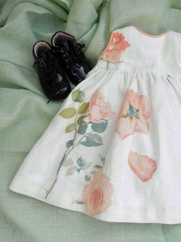 Robe lin blanc roses oranges Duchesse Or Ange