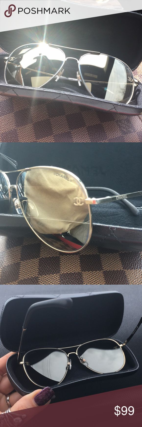 Chanel Aviator Mirrored Glasses Frame Colour Pale Gold Lens Colour Light Brown Gold Mirror Frame Shape Aviator Frame Type Full Rim Model Number CH4189-T-Q Colour Code C395/6G Lens Size 59mm Bridge Size 14mm Temple Length 135mm Material Metal Not Polarised Comes in Original Case CHANEL Other