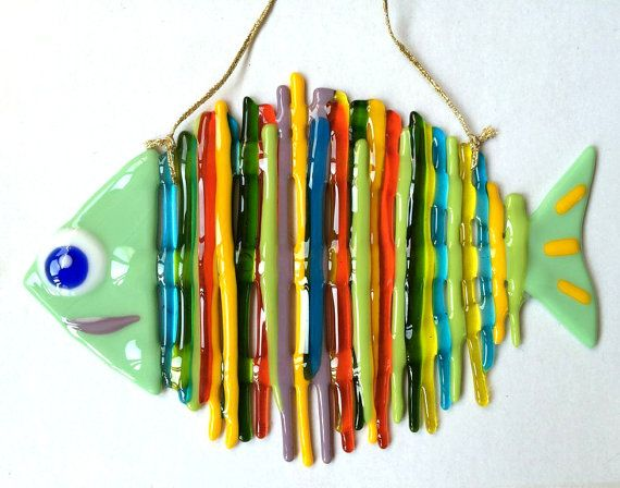 Handmade Rainbow fish glass fusing techniques gift lovers mothers sister family amulet talisman simbol