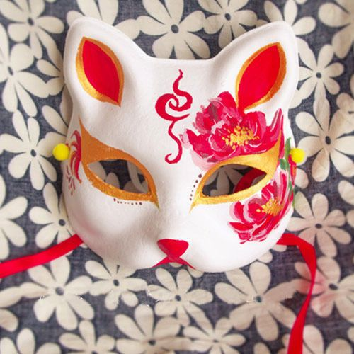 Half Face Hand-Painted Japanese Fox Mask Demon Kitsune Cosplay Masquerade Noh #Unbranded