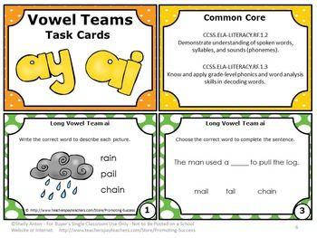 FREE Vowels Teams Long a (ay, ai) Free Download Phonics Task Cards Games ESL