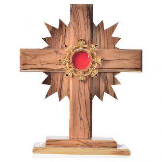 Relicario olivo 20cm, cruz con rayos custodia plata 800 | venta online en HOLYART