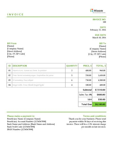 blank invoice format