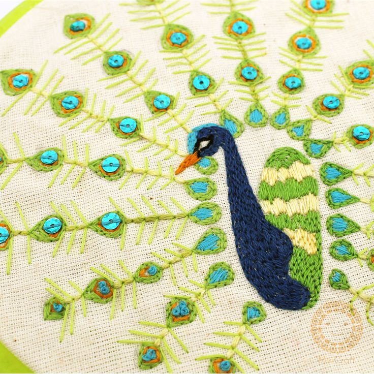 Green peacock , fauna of Indonesia. Stitched on canvas. Store : https://www.instagram.com/mikicraft/