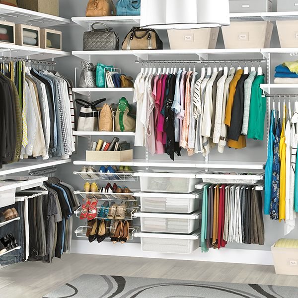"White His & Hers Closet. See if this setup will work on 2 walls of our closet?? Wall A: 114"" wide with Dead space for end of wall B  Wall B: 147"" wide. Container Store: Do It Yourself: $1,875.27 ea  reg $2,680.68  *Have 40% off sale once a year that would be cheaper"