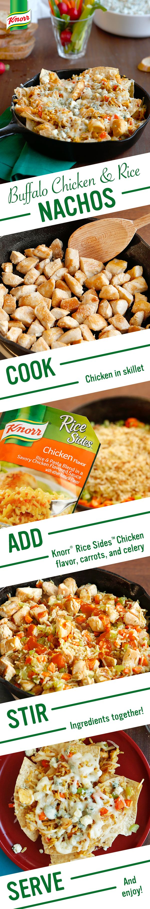 Knorr's Buffalo Chicken & Rice Nachos are the perfect game day (or any day!) inspired spread. It's the best meal idea for your favorite team- family! Follow this easy recipe for a winning flavor: 1. Cook chicken. 2. Add water, Knorr® Rice Sides™ - Chicken flavor, carrots, & celery 3. Stir in chicken & hot sauce. Serve over tortilla chips, sprinkled w/ blue cheese & chopped celery. Enjoy!