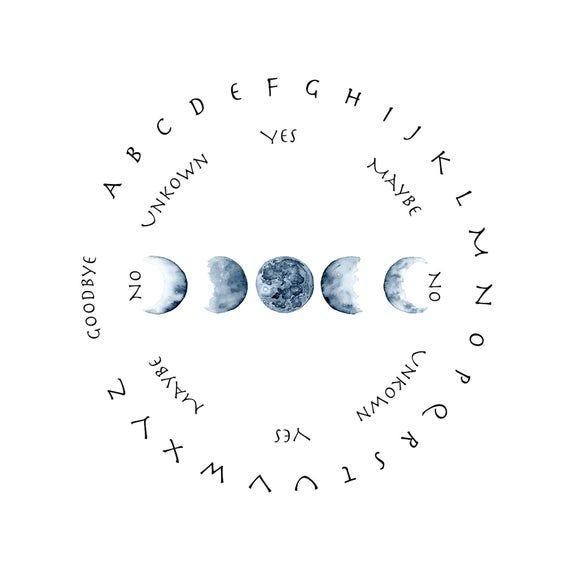 Pendulum Board Printable Moon Phase Ouija Boards Digital Download In 2021 Pendulum Board Pendulum Book Of Shadows