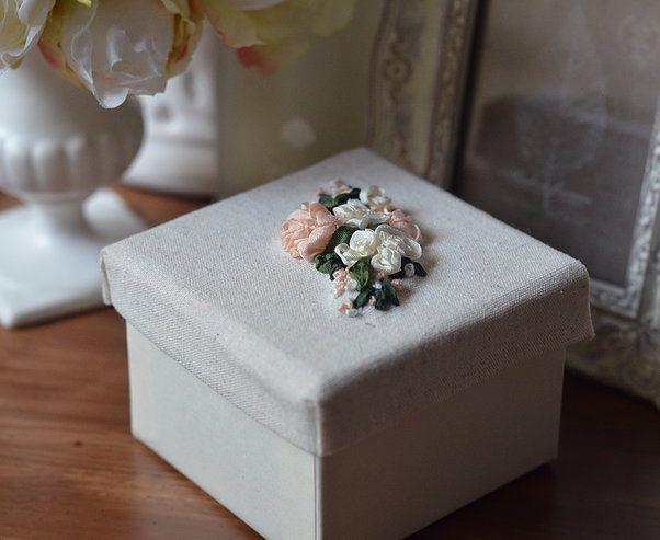 Silk ribbon embroidered peach roses. http://caffeinatedkitten.wix.com/crafts