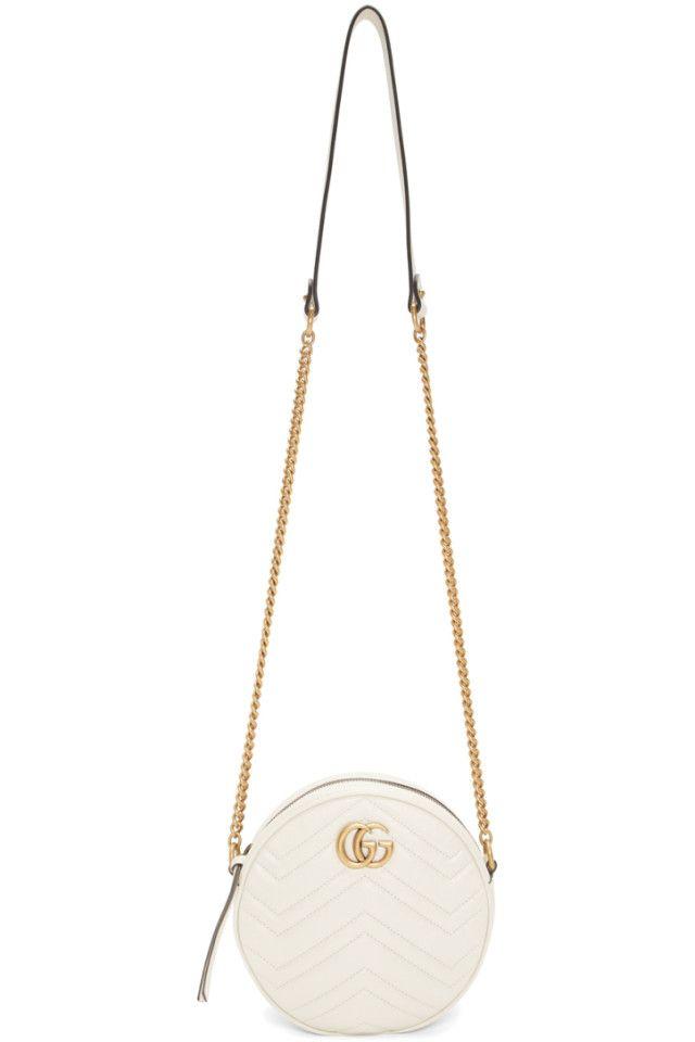 12aa60ef3a5 Gucci - White Mini GG Marmont 2.0 Round Bag