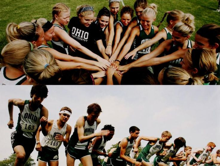 Athena yearbook, 2009, pg. 12. Women's cross country team joins hands. Men's cross country runners. :: Ohio University Archives