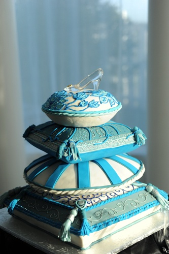 Cinderella cake! [ I <3  the shoe atop the pillow cakes - stunning - or you could place it at the base slightly on the Pillow and have Cinderella & her Prince at the Top!]