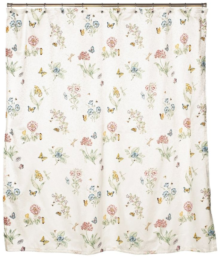 ... - Lenox Butterfly Meadow Shower Curtain - Floral Shower Curtain