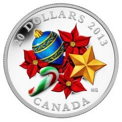 Royal Canadian Mint $20 2013 1 oz Fine Silver Coin - Candy Cane Holiday season with Venetian glass