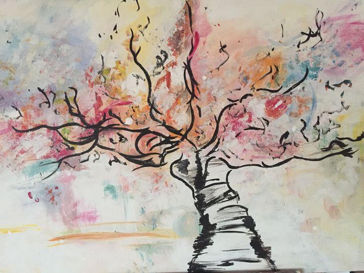 Happy tree  120-80 cm Acryl op doek www.liefsvansuzan.nl