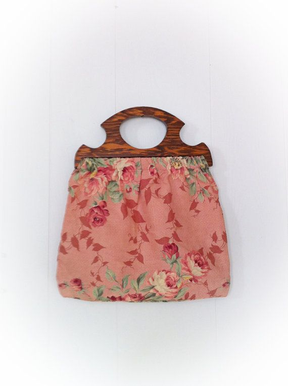 Vintage Knitting Bag : Vintage knitting bag tote purse pink roses wooden handle