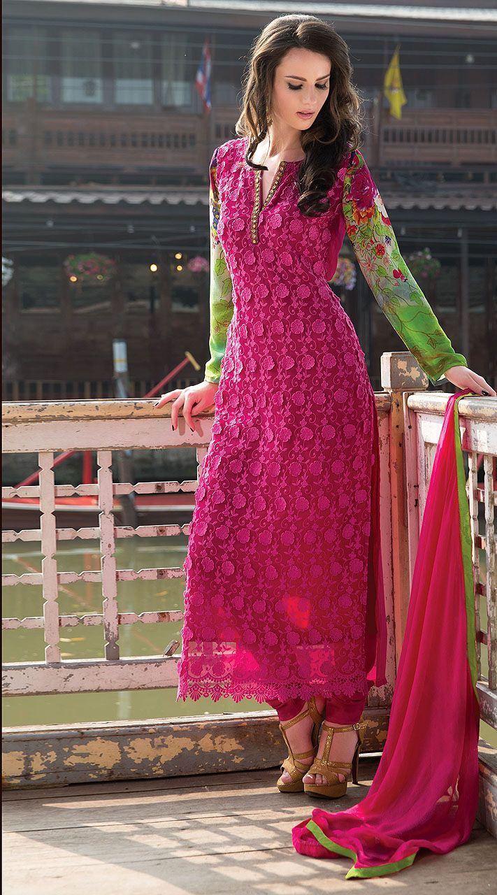 Pink with green, long kurti style