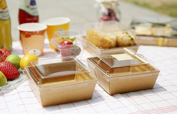 10 Small square Food container kraft food by CookieboxStore