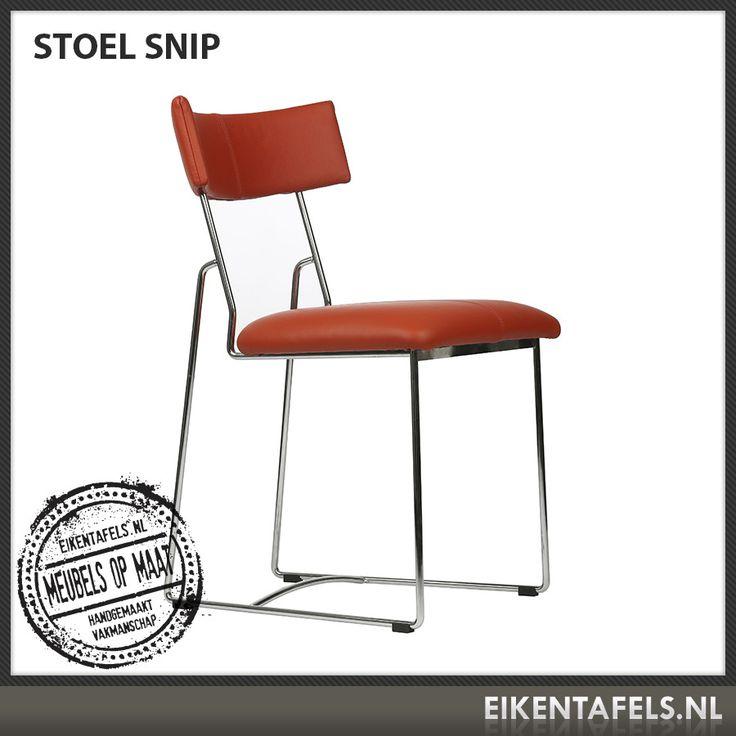 http://www.eikentafels.nl/product,Stoel+Snip,382 , Stoel Snip: Stoel Snip is een modern vormgegeven stoel met een retro uitstraling die met meerdere soorten (kunst) leer uit te voeren is. Zoekt u nog een mooie stoel voor uw eetkamer, vergaderruimte of wachtkamer? Deze degelijke stoel zal niet misstaan! Ook bij deze stoel hebben wij dé perfecte eiken tafel. Eikentafels.nl maakt immers uw tafel op maat, geheel volgens uw wensen, met een door u gekozen afwerking.