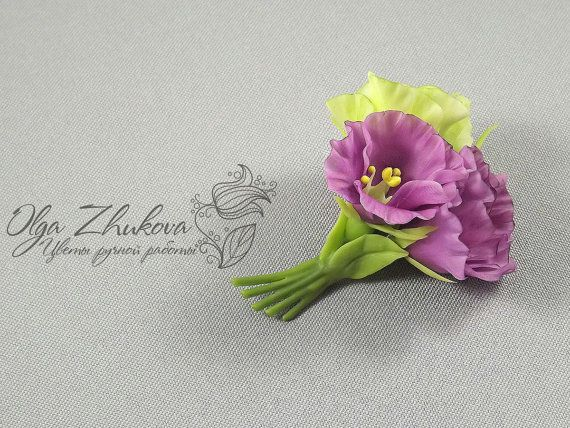 Brooch with flowers from cold porcelain eustomy by polymerFlowers, $22.00