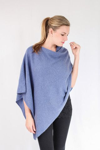 Denim Blue 100% Cashmere Poncho on sale online in South Africa – Pebble&Jack