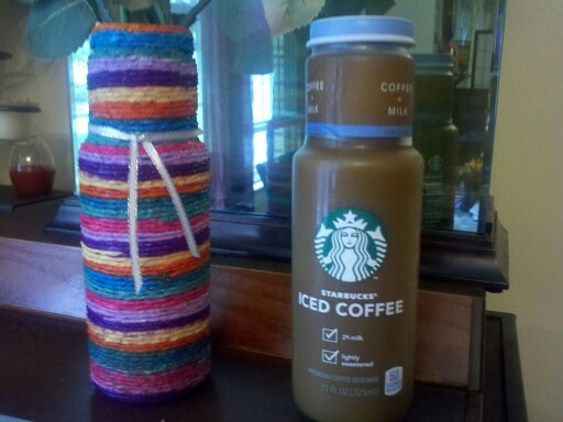 Upcyling craft ~ recycle ice coffee bottle colorful tissue paper ...