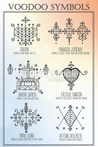 Voodoo spirits symbols set. Seals of main Vodoodieties . Spiritual, magical, cultural and tattoo art. Isolated vector illustration.