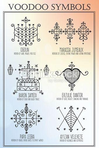 Vector Art : Voodoo spiritual dieties symbols set
