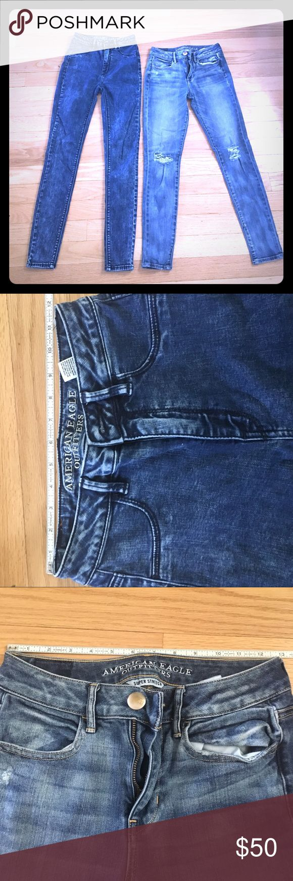 ☁️American Eagle Sky High Skinny Jean Bundle☁️ Bundle of two skinny jeans both size 2 regular. Excellent condition no holes, stains etc. One pair is the sky high waisted acid wash with a 28 inch inseam, and the other is a pair of medium rise 27 inch inseam skinny jeans. *see photos for other measurements. Excellent deal! ✅Offers 🚫Trades 📦Ships in 24 hrs Mon-Fri American Eagle Outfitters Jeans Skinny