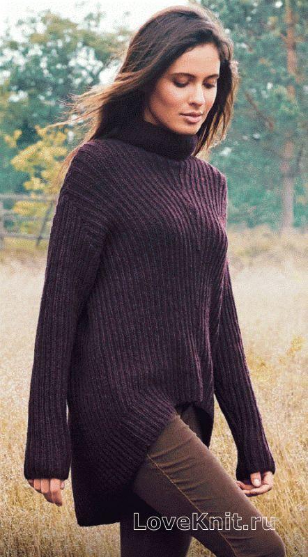 Спицами свитер с удлиненной спинкой фото к описанию