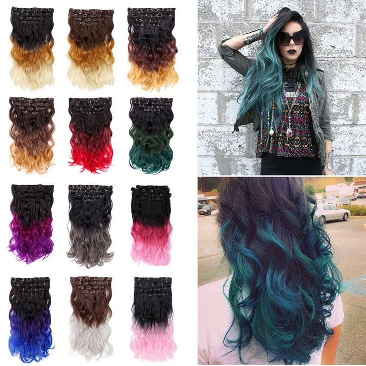 US 20 Inch Ombre Wavy Full Head Clip In Hair Extensions 8pcs Hairpiece Synthetic #Creamily #Ombr