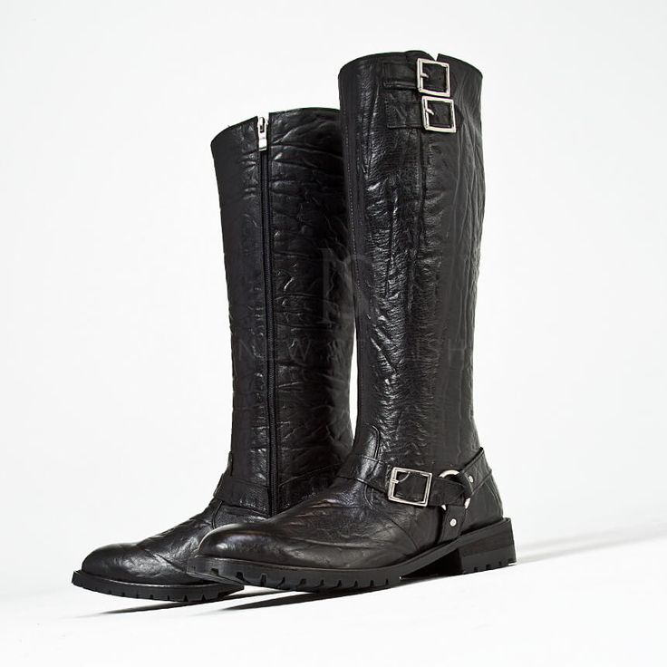 Elephant Pattern Leather High Heel Buckled Long Boots 420 159258