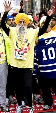 Fauja Singh, 100, finished the Toronto Waterfront Marathon, becoming the first centenarian ever to complete a run of that distance. Singh, a British citizen, finished the race on 16 October 2011 with a time of 8:11:5.9, making him the oldest marathoner...what your excuse again?