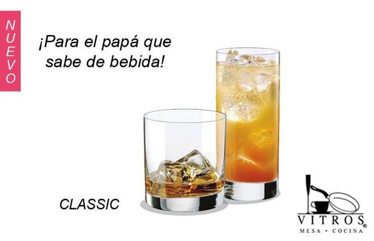 ¡Nuevo vasos Classic!   Para el papá que sabe de bebidas le traemos esta receta.  MAI TAI  ¿Qué necesitas?   • Granadina • Jugo de Naranja • Jugo de Piña • Limón • Ron Blanco  • Ron Oscuro   ¿Cómo se hace?   Vierta en una coctelera con hielo 1oz de Ron Blanco, 1oz de Ron Oscuro, 2oz de Jugo de Piña,1oz jugo de naranja, 1 dash de Jugo de Limón y 1 cucharadita de Granadina.  Agite, sirva en un vaso largo tipo collins y disfrute.