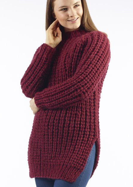 Free Knitting Patterns Chunky Jumper : Yana Chunky Ribbed Jumper Free Knitting Pattern. Material:   Moda Vera  Yana ...