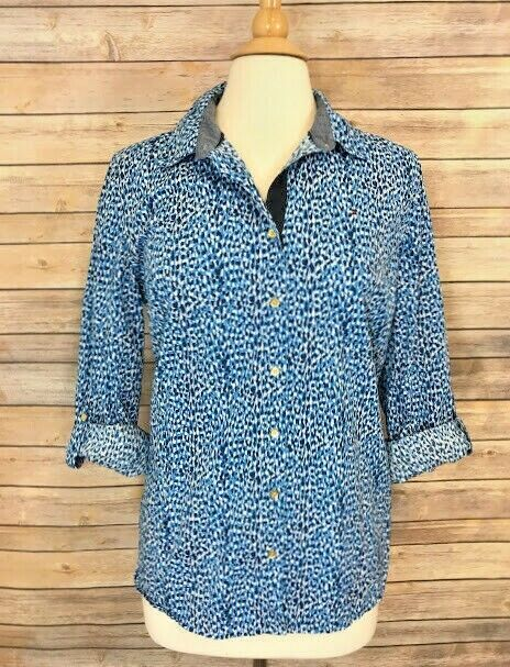 9fb5c47abf21d0 Tommy Hilfiger Blue White Print Shirt Womens Large Roll Tab Sleeves Button  Down #TommyHilfiger #Blouse #Casual