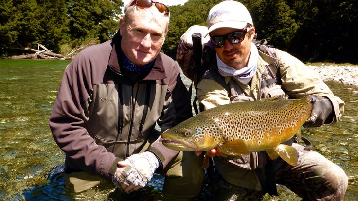 Trophy Brown Trout for first time visitor to New Zealand. Caught on a large terrestrial dry fly. www.southernriversflyfishing.co.nz