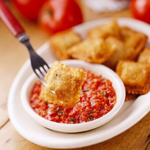 The Original Toasted Ravioli    This fried ravioli recipe, from Charlie Gitto's on the Hill in St. Louis, makes a fun party appetizer. We substituted frozen ravioli for the homemade they use at the restaurant. For extra-easy cooking, serve with a purchased marinara sauce.