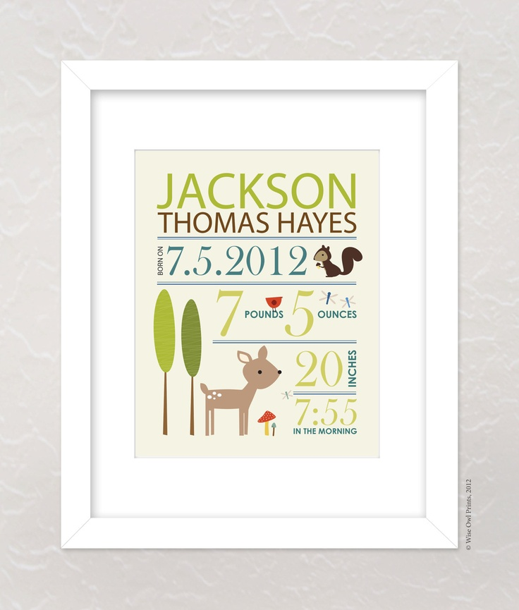 24 best baby name art images on pinterest baby names kid names nursery wall art print custom baby name and birth stats 8x10 forest friends negle Choice Image