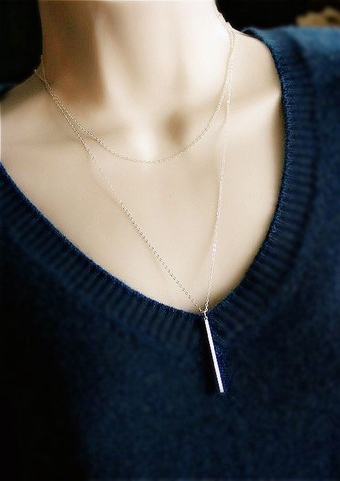 Silver Bar Necklace Vertical Bar Necklace Bar Drop by smilesophie