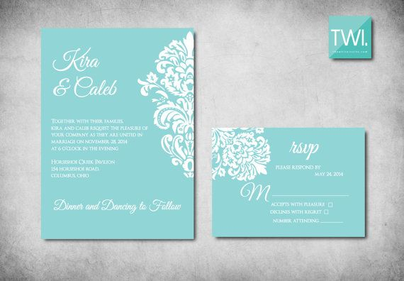 Hey I Found This Really Awesome Etsy Listing At Https Www 120845824 Tiffany Blue Wedding Invitation Damask