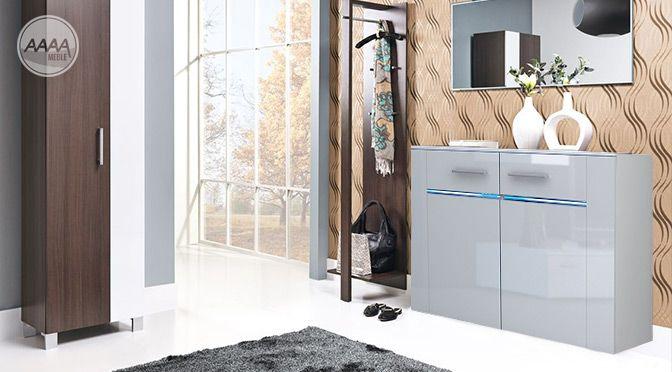 Biała komoda do przedpokoju z oświetleniem #nowoczesnemeble #mebledosalonu #meble #minimalistycznemeble #mebleniemieckie #dom #aranzacjedom #aranzacje
