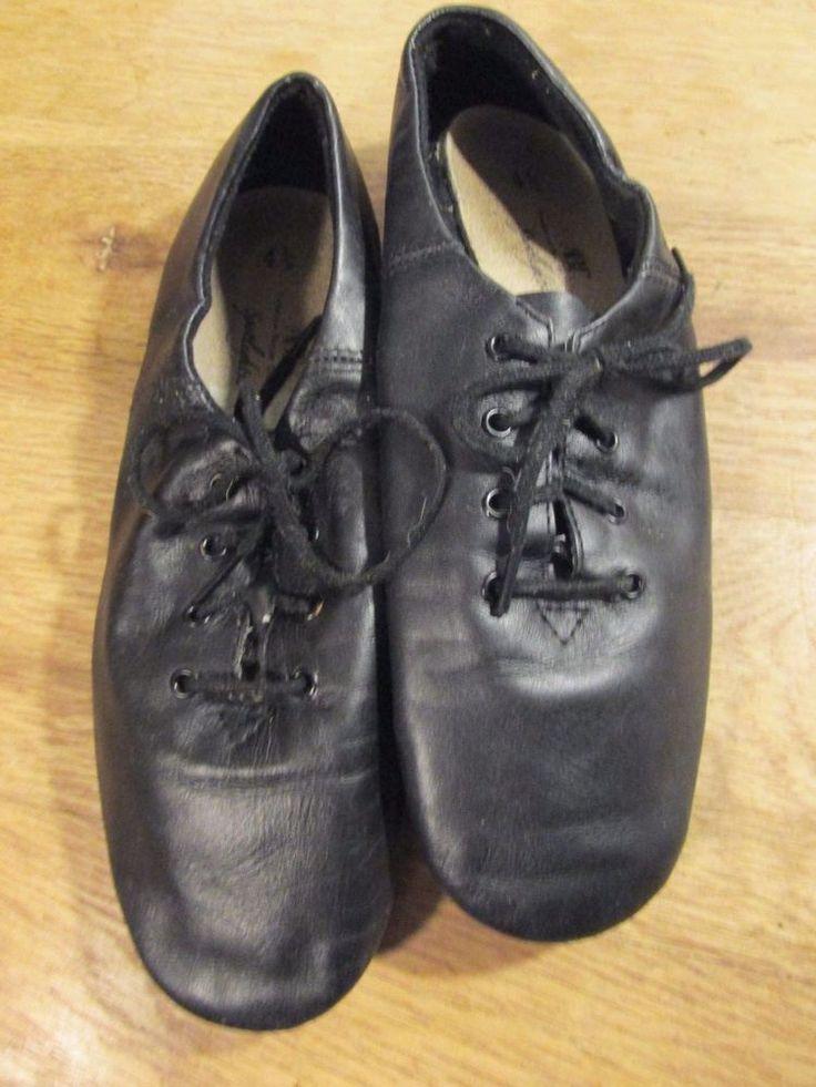 ABT for Spotlights Girls Black Twin Gore Black Leather Jazz Shoe Size 4.5 4 1/2  #SpotlightsABT