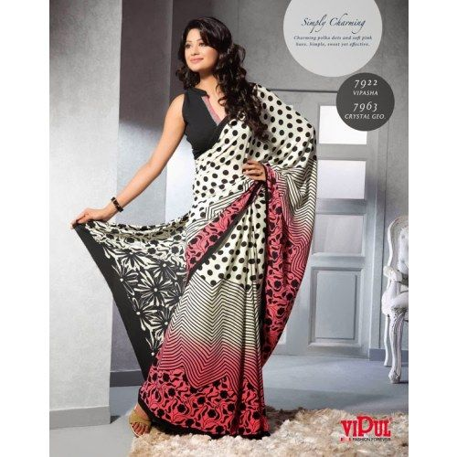 Designer printed saree in black and white combination. - Online Shopping for Georgette Sarees by India Vogue  - Online Shopping for Georgette Sarees by India Vogue  - Online Shopping for Georgette Sarees by India Vogue  - Online Shopping for Georgette Sar
