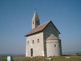 Drazovce Kostol: church up the zobor hill and left