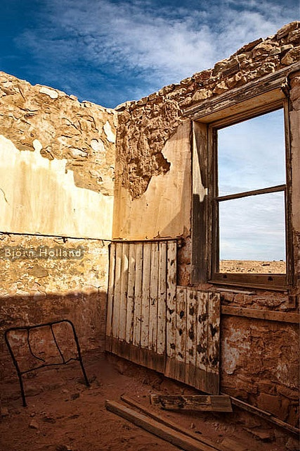 Farina, a ghost town just off the Oodnadatta Track.    From wikipedia:  Farina was settled in 1878 by optimistic farmers hoping that rain follows the plough.  On the edge of the desert, it is situated on the old aligmnent of the Ghan railway.  It was beli Maggie Valley