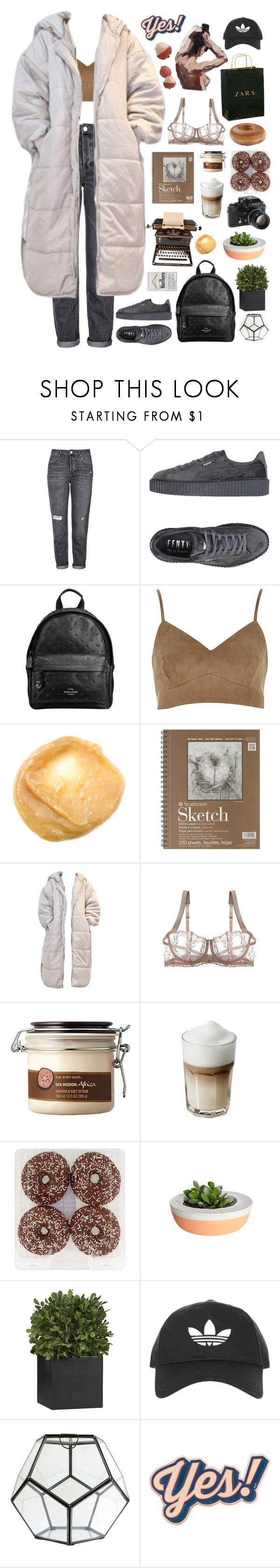 """8:14 pm"" by jmperez2061 ❤ liked on Polyvore featuring Topshop, Puma, Coach, Fleur of England, The Body Shop, Zara, Nikon, Crate and Barrel, HomArt and Anya Hindmarch"