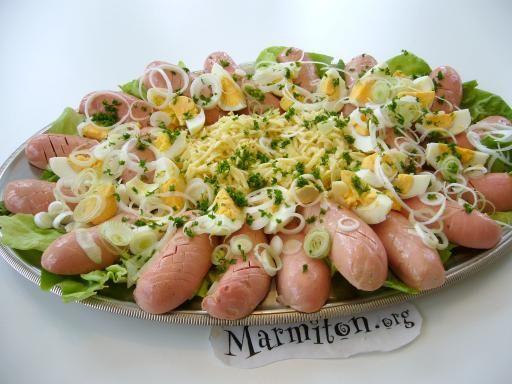Salade alsacienne mixte au cervelas, oeuf et gruyère - Recette de cuisine Marmiton : une recette