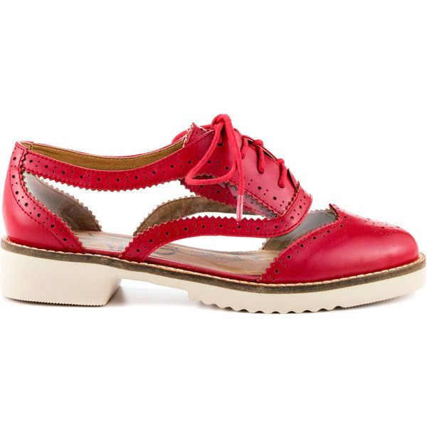 Kelsi Dagger Brooklyn Women's Myler - Red Clear Nappa (1,715 MXN) ❤ liked on Polyvore featuring shoes, flats, red, red lace up shoes, transparent shoes, red oxford shoes, clear flat shoes and flat pumps