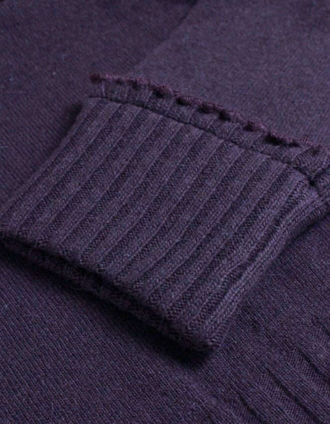 Armani Jeans Purple Frill Edged Polo Neck Jumper